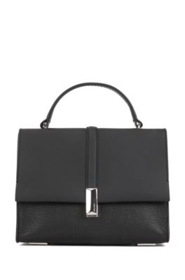 Mixed-leather purse with signature hardware, Black