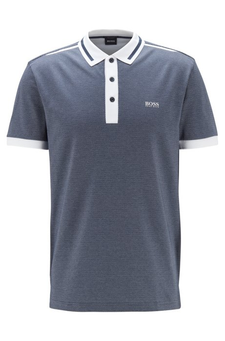 Regular-fit polo shirt with three-color jacquard, Dark Blue