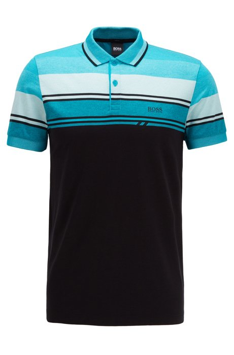 Slim-fit polo shirt with structured stripes, Black