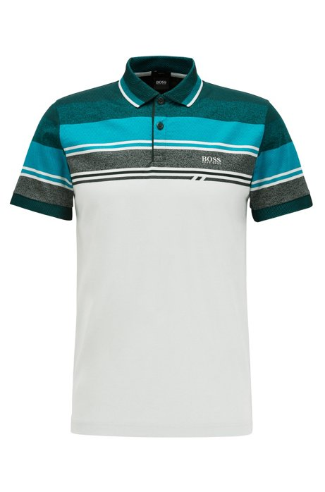 Slim-fit polo shirt with structured stripes, Silver