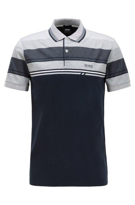 Slim-fit polo shirt with structured stripes, Dark Blue