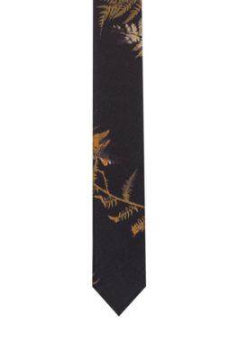 Silk-twill tie with all-over leaf print, Dark Green