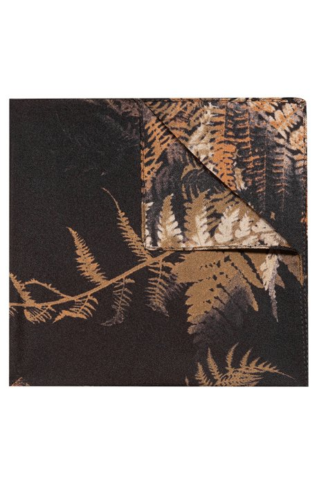 Palm-leaf print pocket square in silk twill , Dark Green