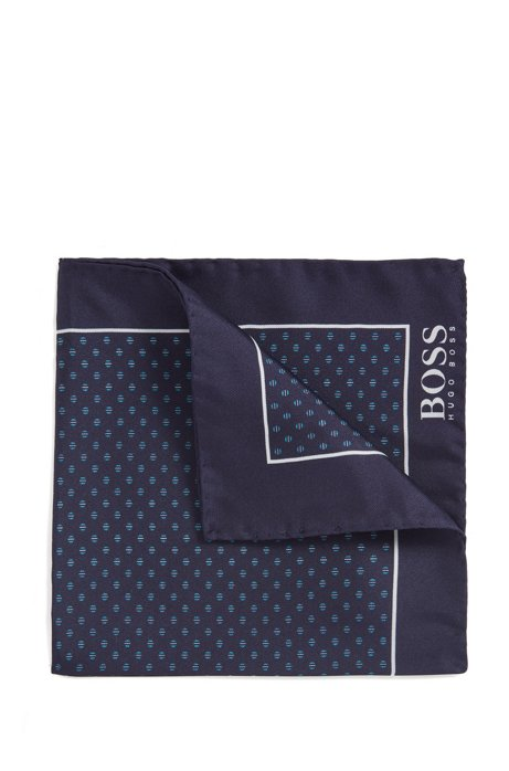 Silk pocket square with micro motif, Dark Blue