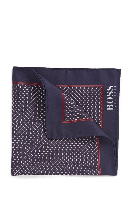 Silk pocket square with micro motif, Dark Red
