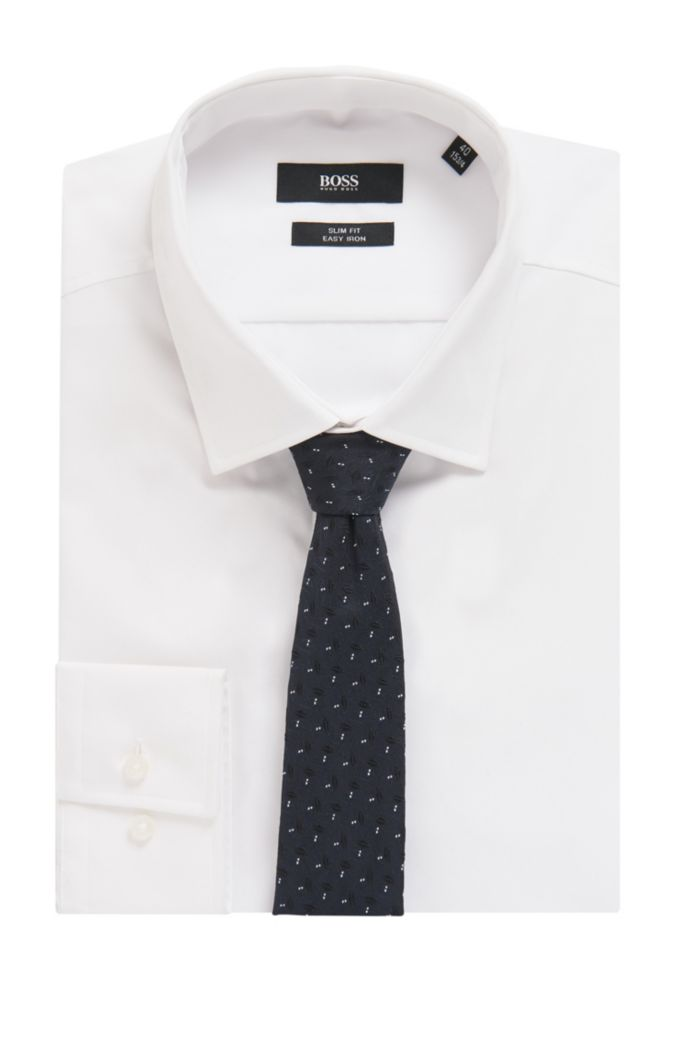 Italian-made silk tie in patterned jacquard
