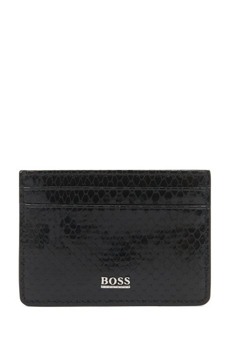 Card holder in lustrous Italian leather with python print, Black