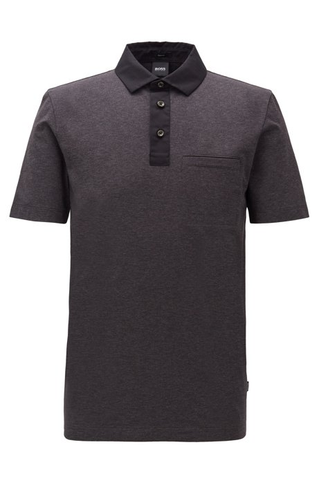 Slim-fit polo shirt with contrast accents, Open Grey