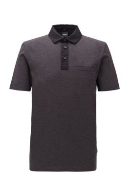 Slim-fit polo shirt with contrast accents, Light Grey