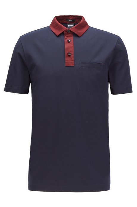 Slim-fit polo shirt with contrast accents, Dark Blue