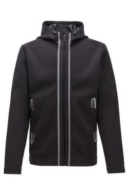 Regular-fit sweatshirt with glued seams and mesh panels, Black