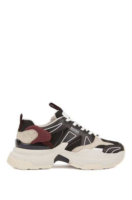 Unisex running-style sneakers with hybrid uppers and oversize sole, Black