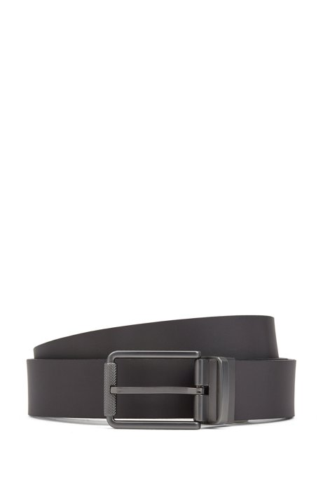Reversible belt in mixed leathers with milled roller buckle, Black