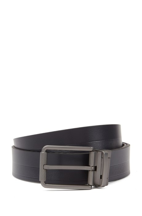 Reversible belt in mixed leathers with milled roller buckle, Dark Blue