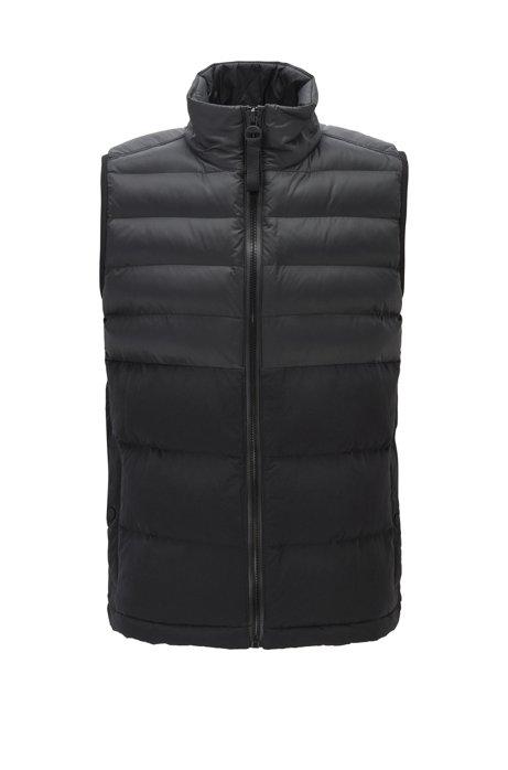 Zip-through gilet in contrasting water-repellent fabric, Black