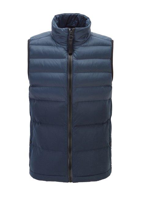 Zip-through gilet in contrasting water-repellent fabric, Dark Blue