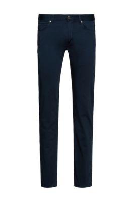 Slim-fit jeans in satin-touch comfort-stretch denim, Dark Blue