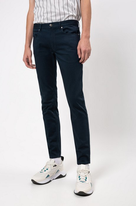 Slim-fit jeans in satin-touch comfort-stretch denim, Dark Blue