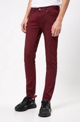 Slim-fit jeans in satin-touch comfort-stretch denim, Dark Red