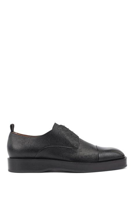 Derby shoes in Scotch-grain calf leather, Black