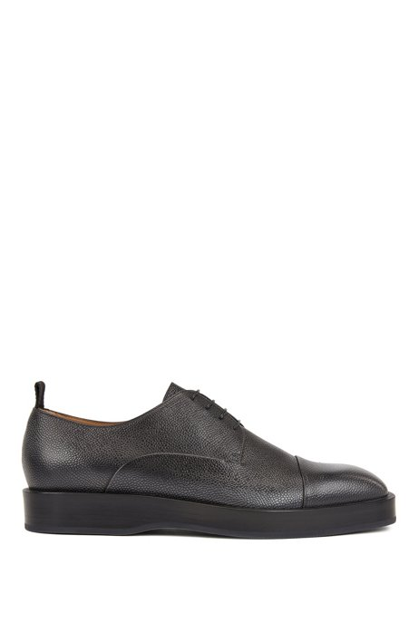 Derby shoes in Scotch-grain calf leather, Grey