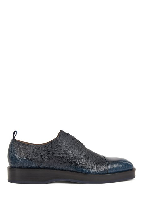 Derby shoes in Scotch-grain calf leather, Blue