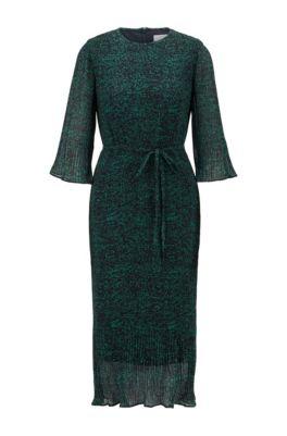 Dot-print plissé dress with volant details, Patterned