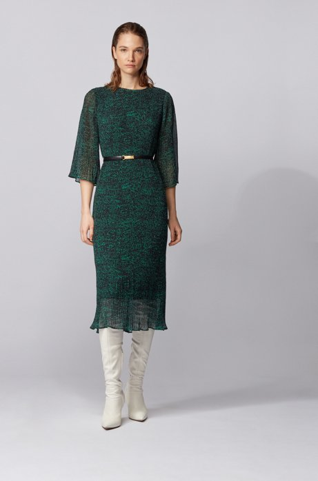 Dot-print plissé dress with volant details, Patterned