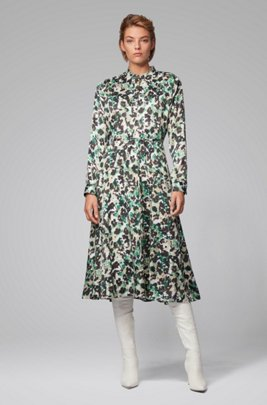 Long-sleeved dress in floral-print twill, Patterned