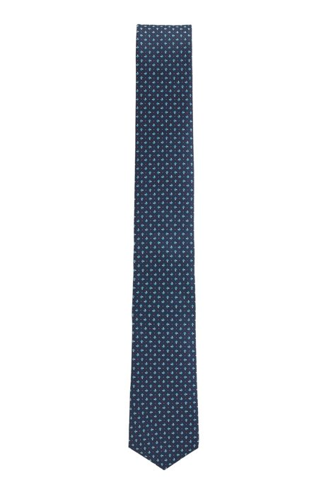 Travel Line tie in patterned silk with water-repellent finish, Dark Blue
