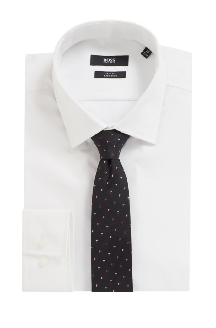 Travel Line tie in patterned silk with water-repellent finish