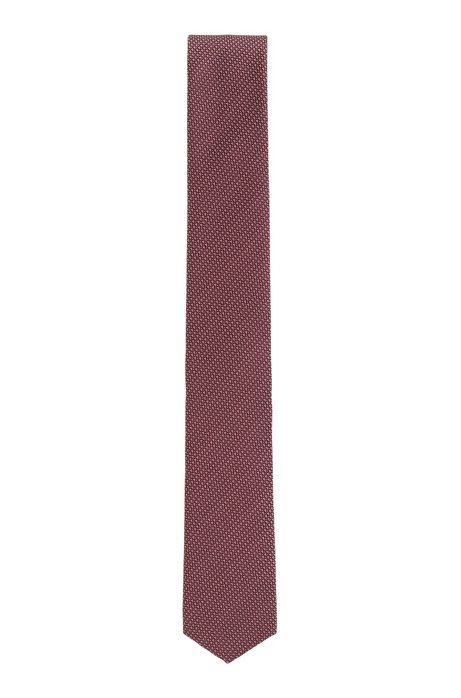 Travel Line tie in patterned silk with water-repellent finish, Red