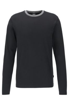 Slim-fit T-shirt in cotton with melange collar, Black