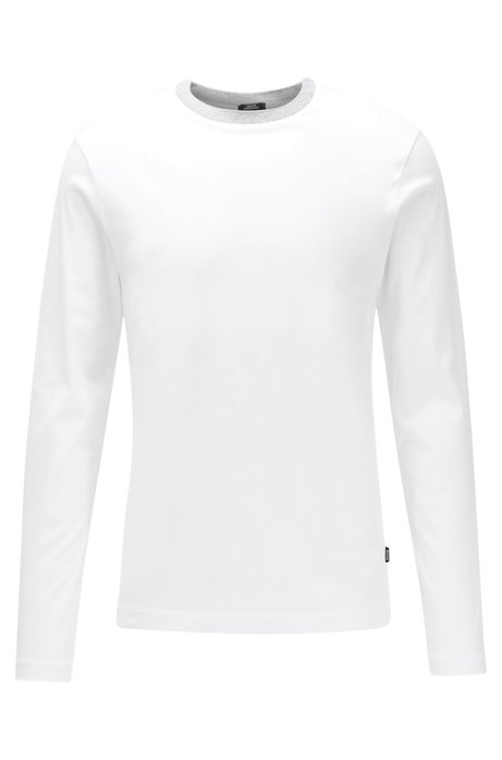 Slim-fit T-shirt in cotton with melange collar, White