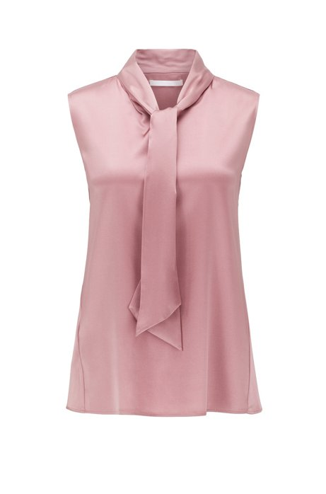 Sleeveless top in stretch silk with tie neck, light pink