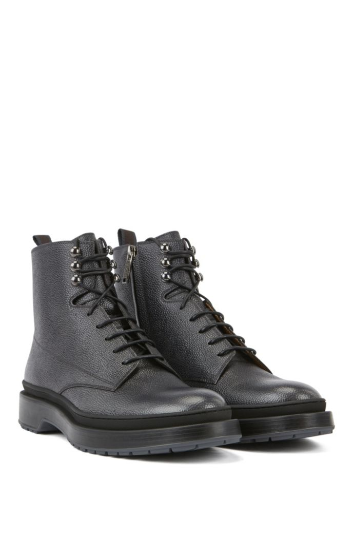 Lace-up boots in Scotch-grain leather with contrast lug sole