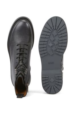 8eb24f153df Lace-up boots in Scotch-grain leather with contrast lug sole