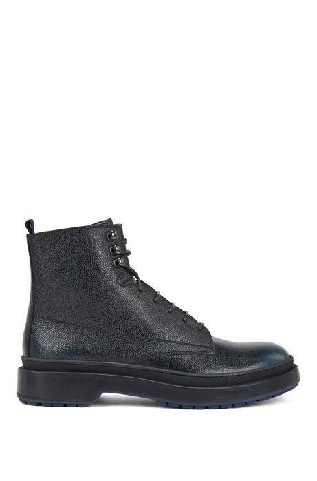 Lace-up boots in Scotch-grain leather with contrast lug sole, Blue