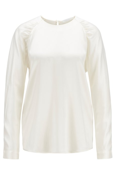 Ruffle-detail blouse in stretch-silk satin, Natural