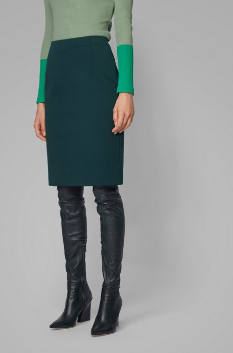 Regular-fit pencil skirt in houndstooth-structured jersey, Dark Green