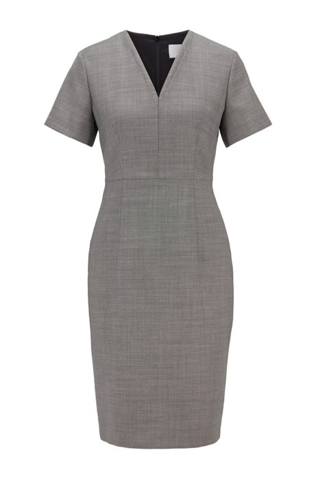 Shift dress in stretch fabric with birdseye pattern, Patterned