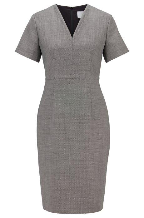 Shift dress in stretch fabric with birdseye pattern, Patterned