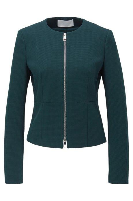 Collarless regular-fit jacket in stretch jersey, Dark Green