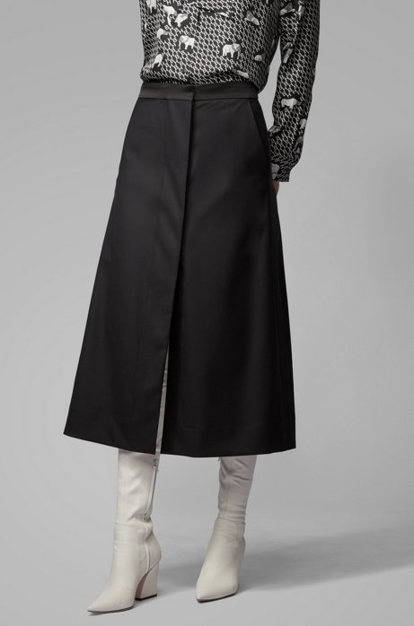 Overlapping A-line skirt in wool-rich Italian fabric, Black