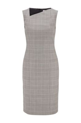 Checked shift dress in Italian wool with asymmetric neckline, Patterned