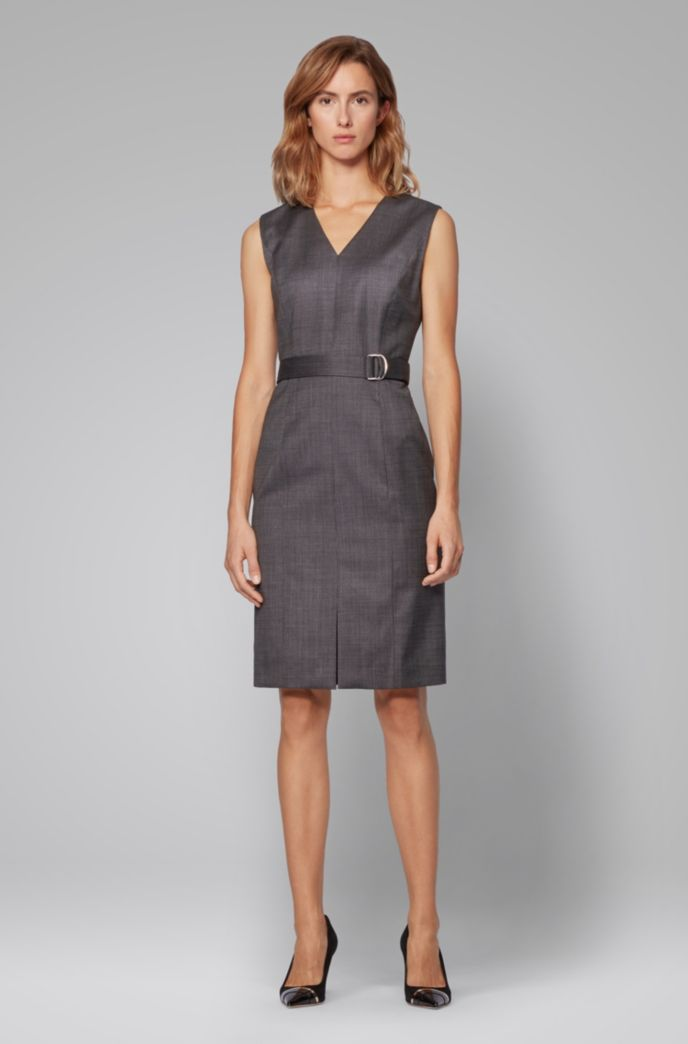 Sleeveless dress in checked super-stretch virgin wool