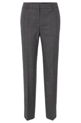 Relaxed-fit pants in checked super-stretch virgin wool, Patterned