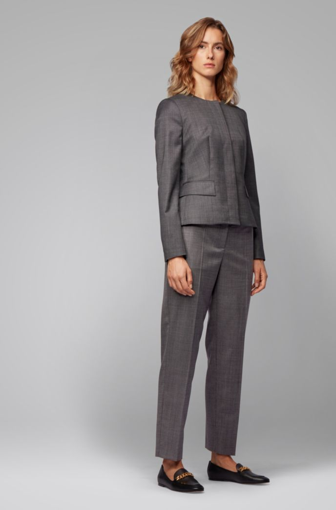 Relaxed-fit pants in checked super-stretch virgin wool