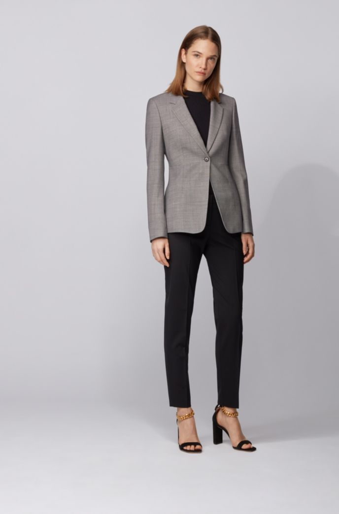Regular-fit jacket in stretch fabric with birdseye pattern