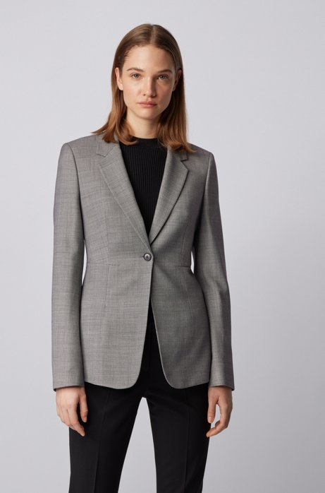 Regular-fit jacket in stretch fabric with birdseye pattern, Patterned